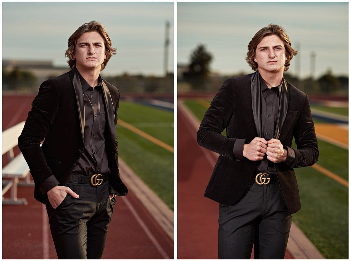Prestonwood Christian Academy Senior Pictures of Riley on the football field in a black suit and Gucci belt