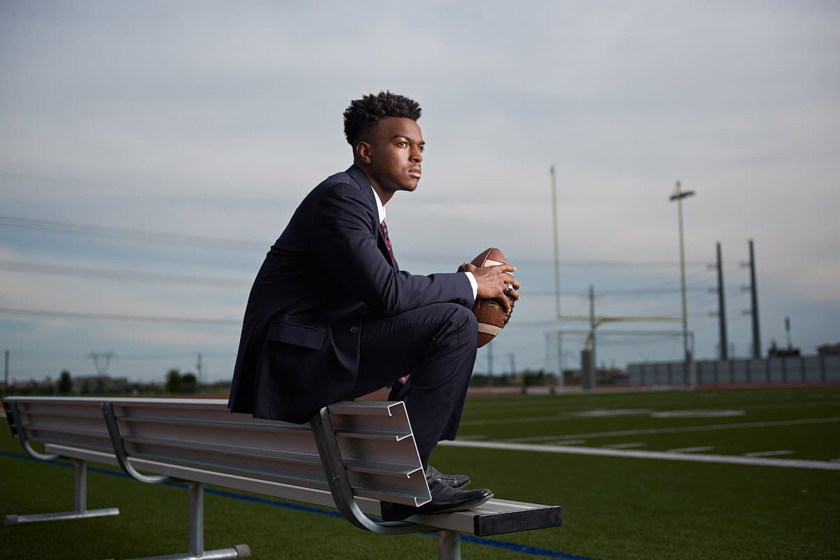 frisco senior portraits memorial high football player