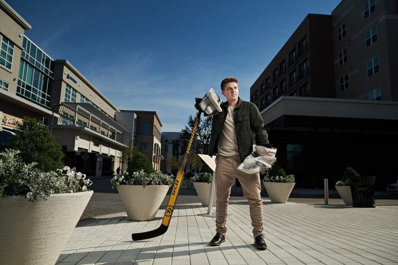 McKinney Boyd Senior Pictures of Hockey player in Plano Texas