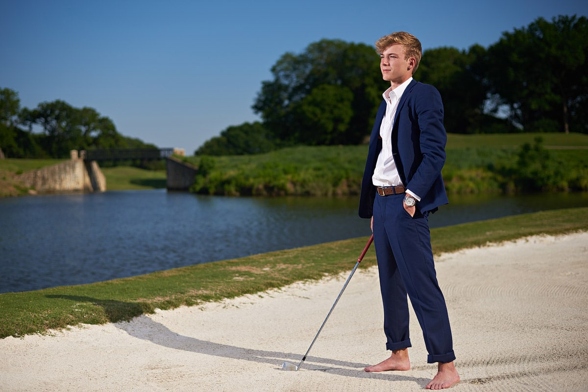 southlake carroll senior portraits of golfer at country club