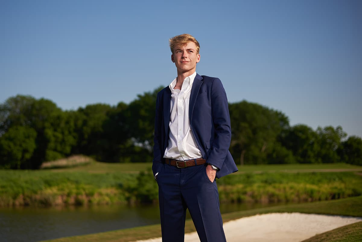 southlake carroll senior portraits of high school golfer Dallas photographer Jeff Dietz