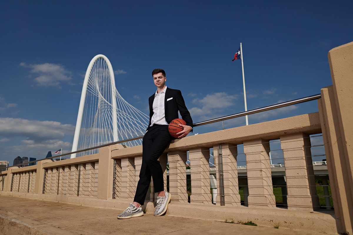 Bishop Lynch Senior Portraits on the kirk bridge in downtown Dallas Texas