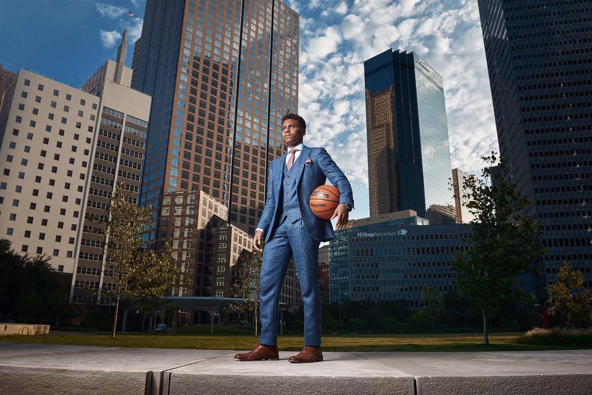 Fort Worth Christian Senior Portraits Basketball Player downtown dallas texas