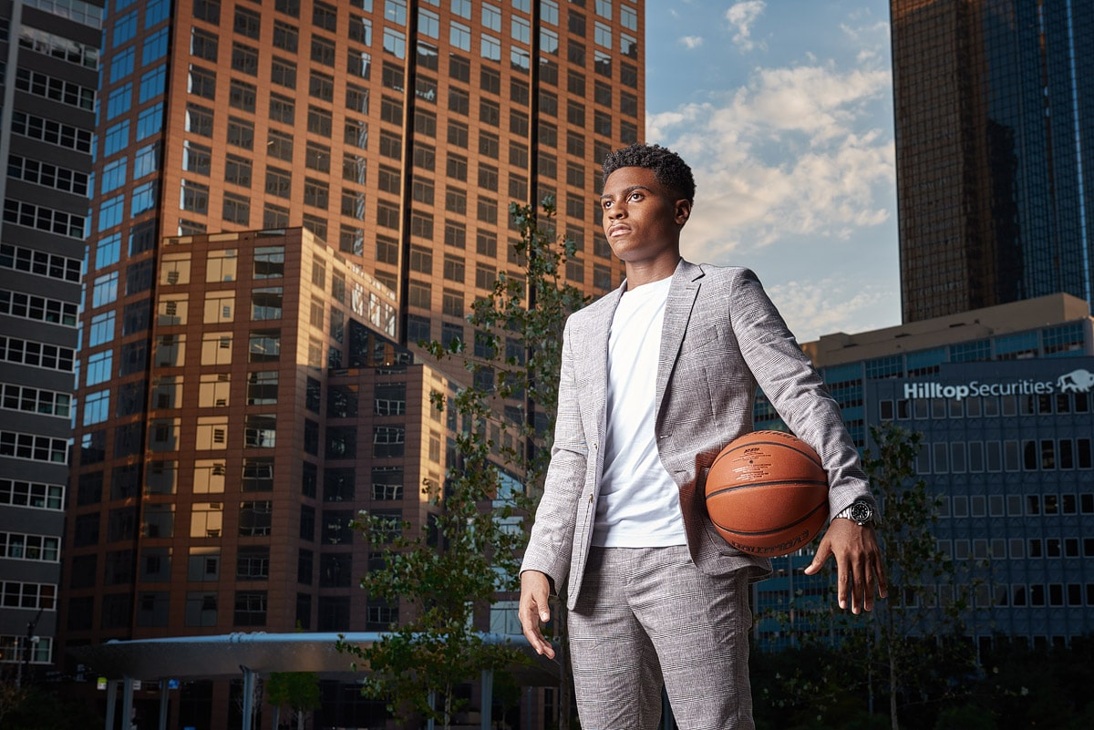 Fort Worth Senior portraits in pacific plaza downtown dallas senior boys basketball