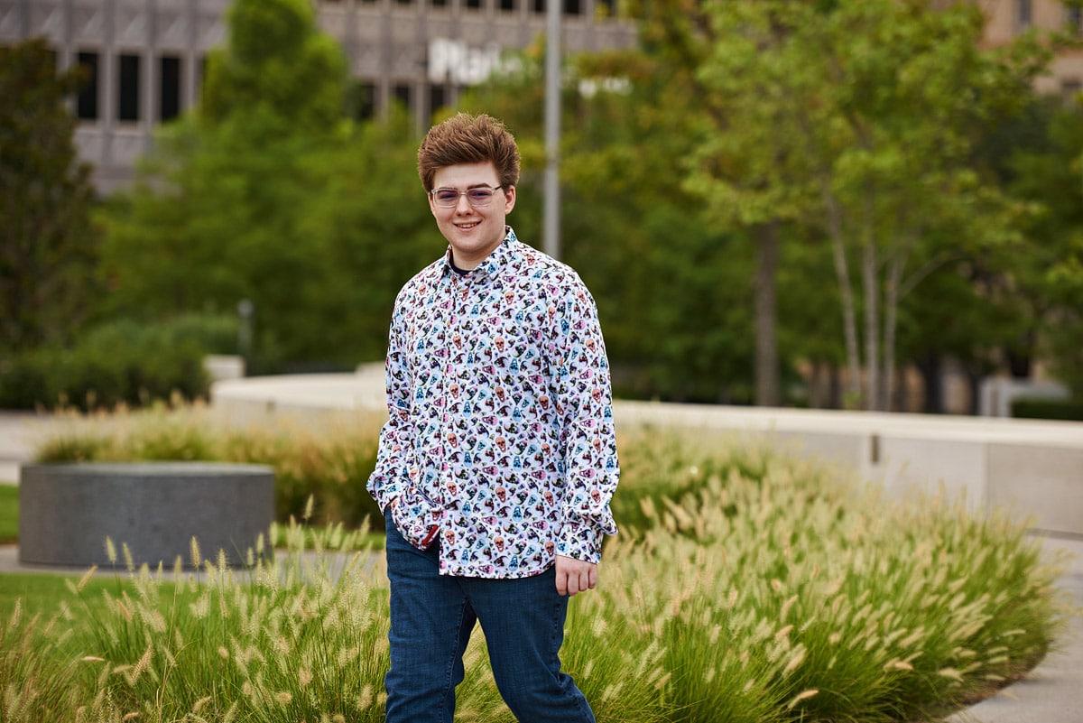 prosper senior portrait of zane in downtown dallas texas casual outfit