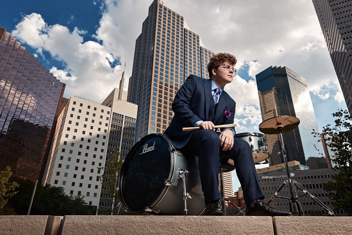 Prosper Senior Portrait of Zane music in downtown dallas tx drums