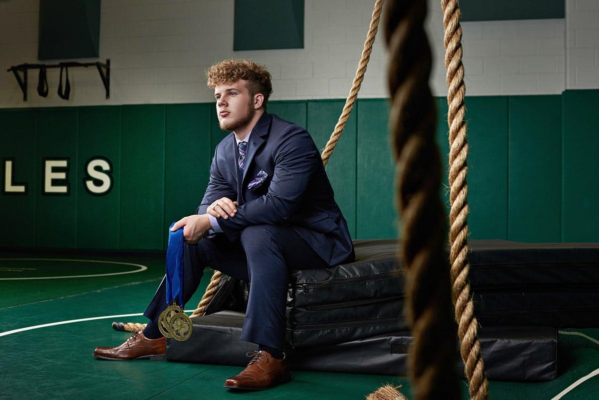 prosper senior wrestler good location for senior portraits for guys