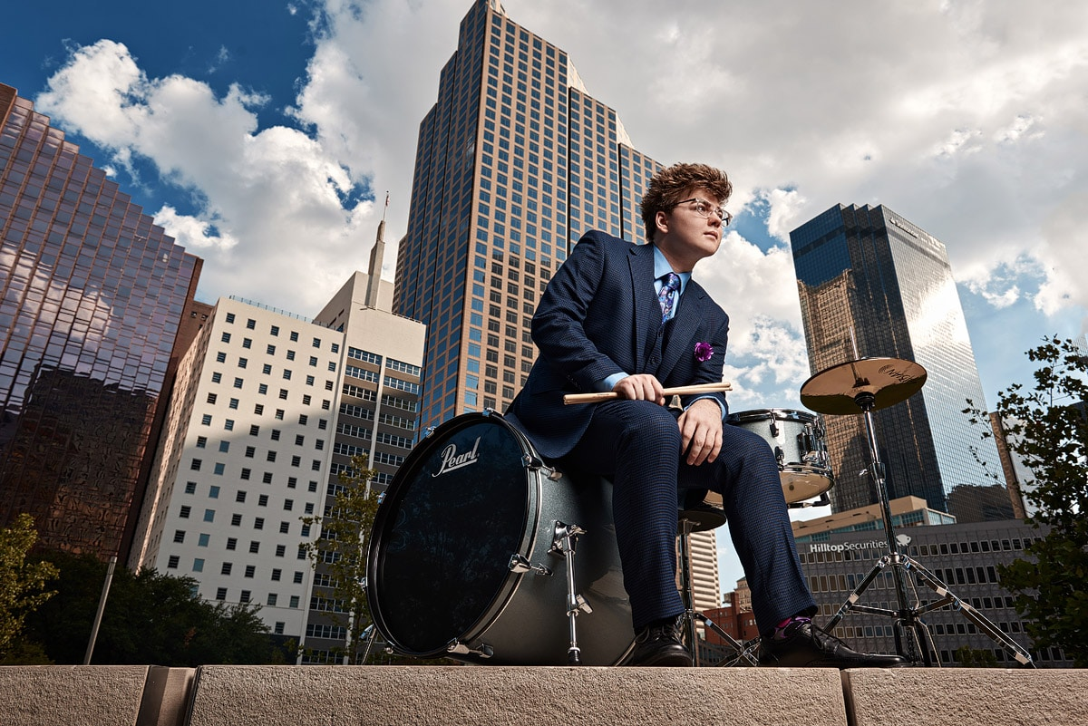 Prosper senior pictures in downtown dallas texas - drums in downtown
